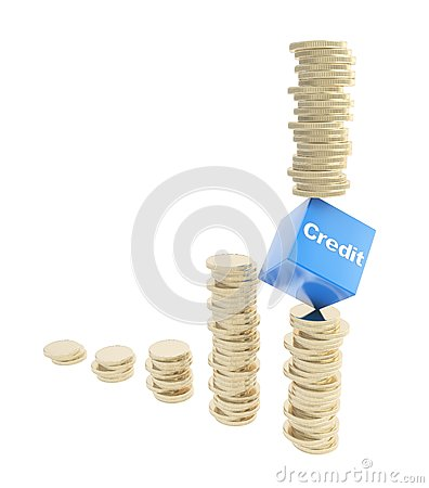 Credit risk conception as coin piles isolated