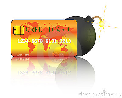 Creditcard with bomb. Creditcard debt