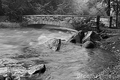 Creek and Bridge in black and white