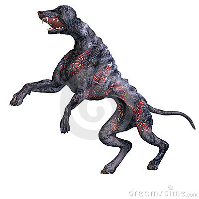 Creepy alien dog out of hell. 3D rendering with