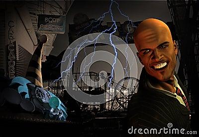 Creepy Amusement park scene