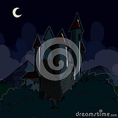 Creepy castle at night