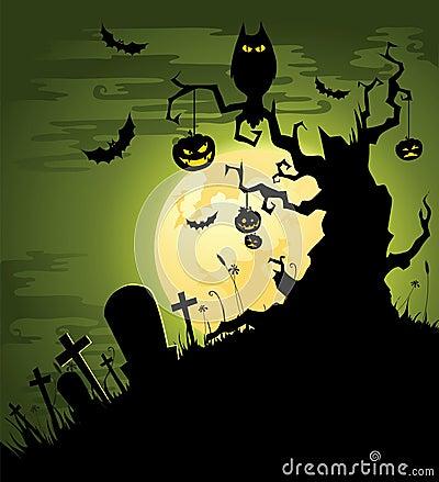 Creepy green Halloween background