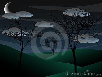 Creepy grim bare tree night scene half moon