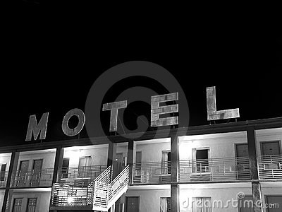 Creepy motel sign black and white
