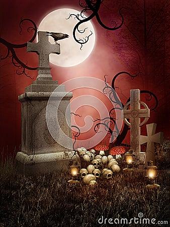 Creepy tombs with skulls