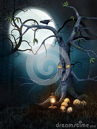 Creepy tree with skulls
