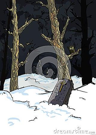 Creepy trees in a graveyard