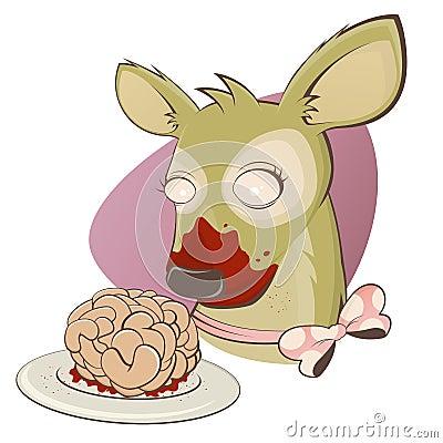 Creepy zombie deer with brain