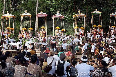 Cremation Ceremony: funeral pyres Editorial Stock Photo
