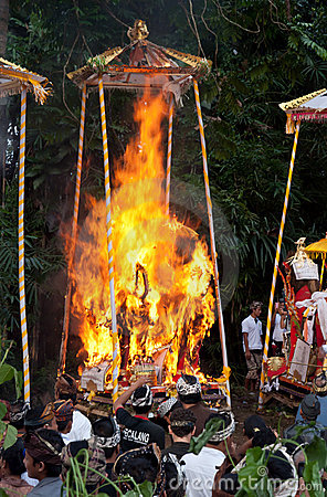 Cremation Ceremony:  funeral pyres on fire Editorial Photo