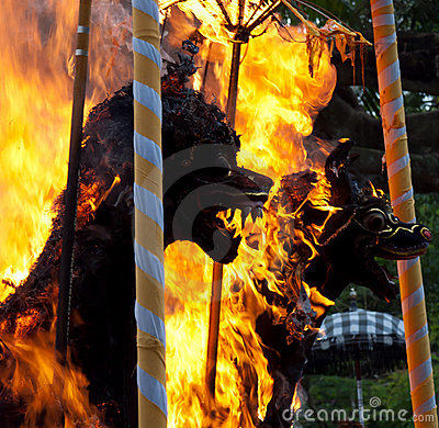 Cremation Ceremony:  funeral pyres on fire detail Editorial Photography