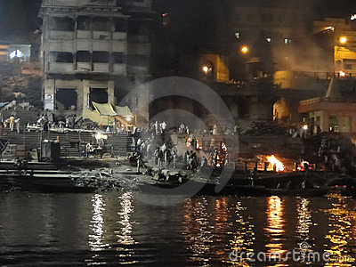 Cremation flames of the burning ghats Editorial Photography