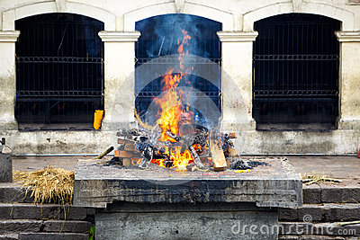 Cremation ghat and ceremony in Nepal