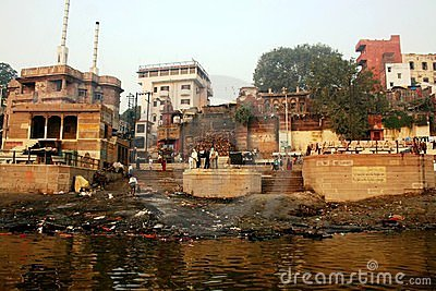 Cremation ghat in Varanasi Editorial Photo