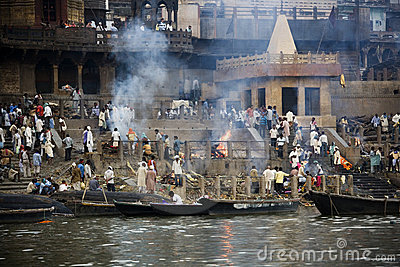 Cremation Ghats - Varanasi - India Editorial Stock Photo