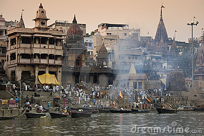 Cremation Ghats - Varanasi - India Editorial Stock Image