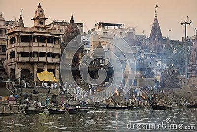 Cremation Ghats - Varanasi - India Editorial Stock Image