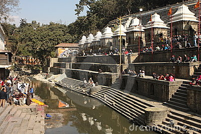 Cremations Are Performed At Pashupatinath Temple Royalty Free Stock Photos - Image: 12832798