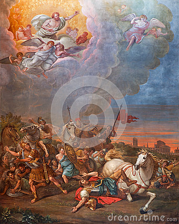 Free CREMONA, ITALY, 2016: The Conversion Of St. Paul Fresco In Cathedral Of Assumption Of The Blessed Virgin Mary Stock Photo - 73081520