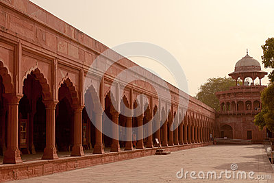 Crenellated Red Sandstone arcades Taj Mahal, India Editorial Photo