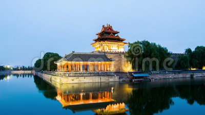 Crepúsculo na torreta da Cidade Proibida, Pequim, China