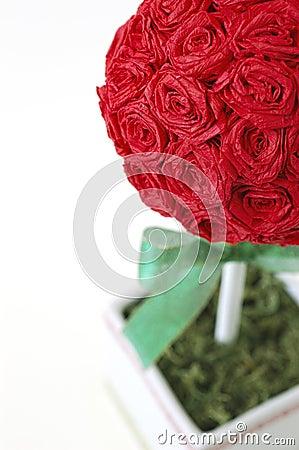 Crepe Paper Rose Topiary