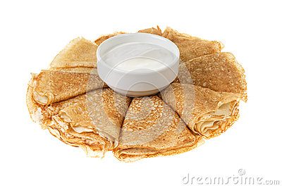 Crepes with cour cream