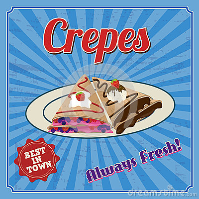 Free Crepes Retro Poster Royalty Free Stock Image - 41980426