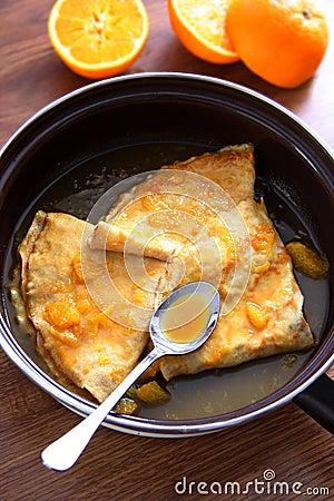 Free Crepes Suzette - Pancakes With Orange Sauce Stock Photo - 23088360