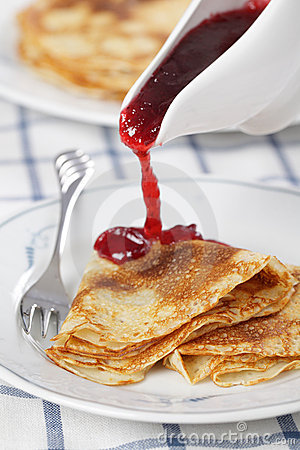 Free Crepes With Cranberry Jam Stock Photos - 16996863