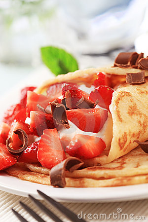 Free Crepes With Curd Cheese And Strawberries Stock Photo - 10881170