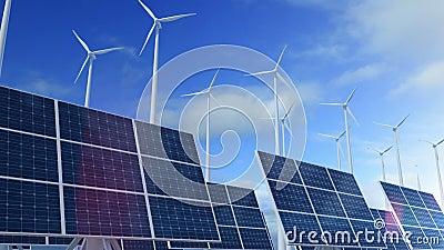 Cresça o painel solar acima de construção com as turbinas eólicas que geram a energia video estoque