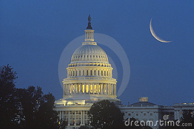 Crescent Moon Over U.S. Capitol