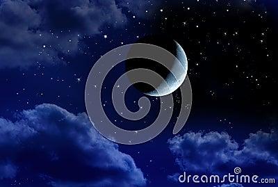 Crescent Moon Stars Night Sky