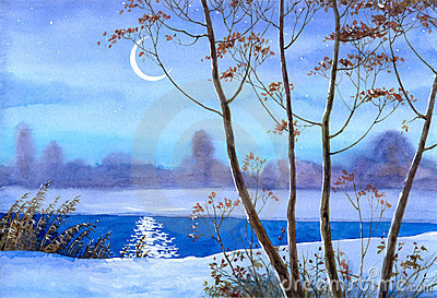 Crescent over the winter river