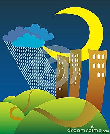 Crescent and rain