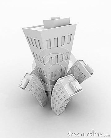 Crescimento branco do edifício dos desenhos animados 3d, isolado