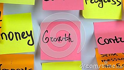 Crescimento da palavra na etiqueta video estoque