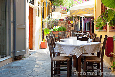 Cretan restaurant in Chania Editorial Stock Image