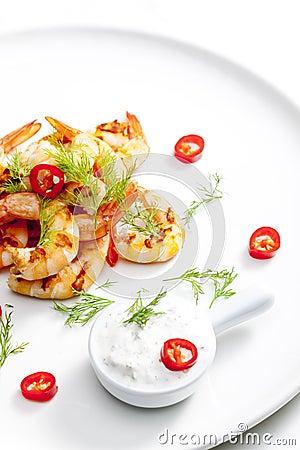 Crevettes roses grillées