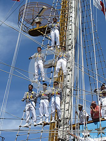 Crew in the Rigging Editorial Photography