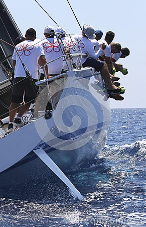 Free Crew Teamwork During Sailing Regatta Royalty Free Stock Image - 123418376