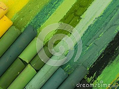 Creyones artísticos verdes