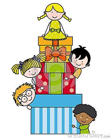 Crianças com pacotes do presente