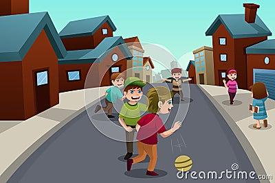 Crianças que jogam na rua de uma vizinhança suburbana