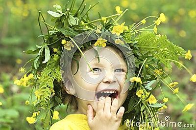 Criança de flor de sorriso