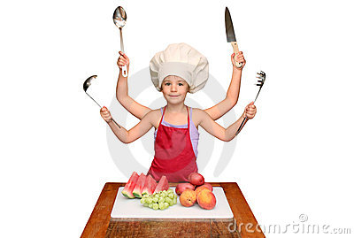 Criança do cozinheiro chefe com muitos braços