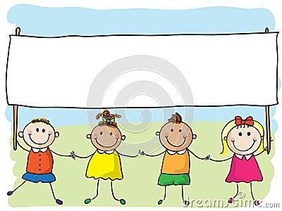 Crianças com bandeira