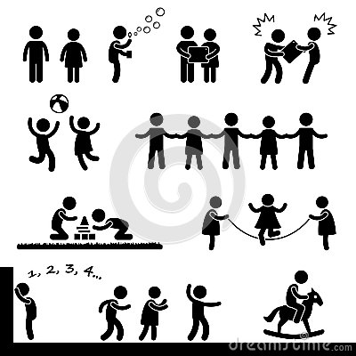 Crianças felizes que jogam o pictograma